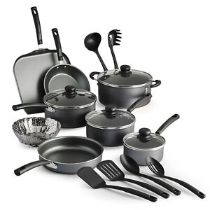 Primaware 18 Piece Non-stick Cookware Set Kitchen Home Pots & Pans Set Red/Gray