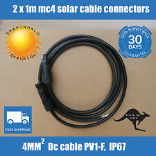2x1M Extension Cable Wire MC4 Connectors for PV Solar Panel to regulator