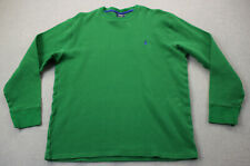 Ralph Lauren Sleepwear Mens Green w Blue Pony LS Crewneck Waffle Sweatshirt  XL