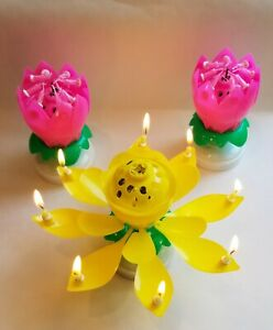 3pk Amazing Lotus Flower Musical Birthday Candle - 3 PACK 2 PINK 1 YELLOW