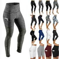 Womens High Waist Sports Yoga Pants With Pockets Gym Leggings Fitness Athletic