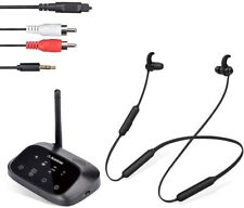 Wireless Neckband Earbuds Earphones Set w/Bypass Bluetooth Transmitter for Tv Pc