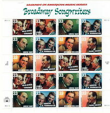 Sc# 3345-50 Broadway Songwriters MNH Sheet of 20 33 cents issued 1999