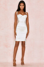 HOUSE OF CB 'Angelina' Ivory Satin Lace Up Corset Dress M 10 / 12 SS 18790