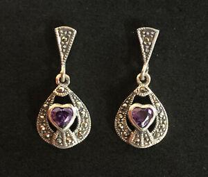 Romantic Silver Amethyst CZ /& Marcasite Heart Stud Earrings