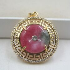Hot Sale GP 18K Alloy & Red Jade Hollow Pattern For Women Pendant 35*29mm