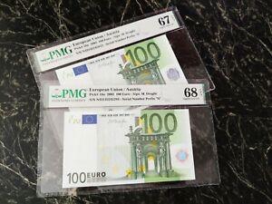 """EURO 100 BANKNOTE PMG 68 🇪🇺 M. DRAGUI AUSTRIA 2002 PREFIX """"N"""" ULTRA RARE TOP**"""