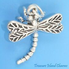 DRAGONFLY DETAILED 3D .925 Solid Sterling Silver Charm or Pendant