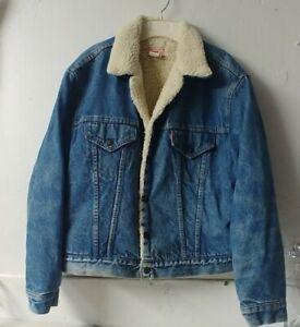 Vintage Levis Sherpa Fleece Lined Denim Jacket Mens  SIZE 46 XL-2XL USA