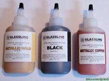 Glassline Fusing 'Metallic Gold, Metallic Copper and Black' Glass Paints Set