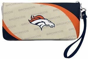 Denver Broncos  Ladies Wallet Clutch Zip Curve NEW FREE SHIPPING