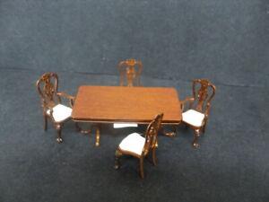 DOLLHOUSE DINING ROOM SET- 5-PC. WALNUT- (1/24TH SCALE)