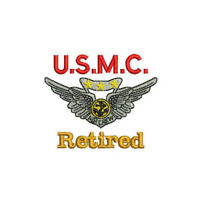 USMC Combat Air Crew Wings Retired Pilot Army Military Embroidered Polo Shirt