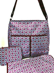 Avon Diaper Bag 3 Pc Changing Pad Small Zippered Pouch Geometric Floral Pattern
