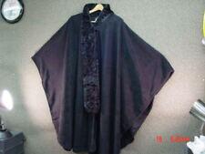 NWT NWOT Ladies Women Cape Cloak Coat Black Elegant Faux Fur Warm Stylish Comfor