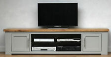 HENLEY SOLID GREY PAINTED OAK MEDIA TV UNIT WIDESCREEN LED HD 4K  CHUNKY KUBA