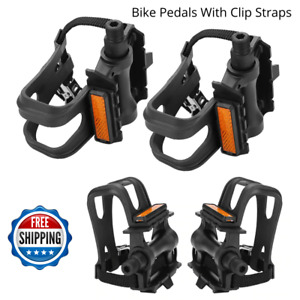 Road Bike Pedals with Double Toe Clips Straps Plastic Cycle Pedal Bike