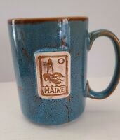 Maine Souvenir Pottery Coffee Cup Mug, blue / tan / brown, 16 oz. Great quality!