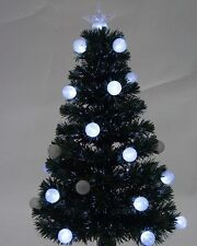 Green 120CM (4FT) Fibre Optic Christmas Tree With 28 White Flashing Led Balls