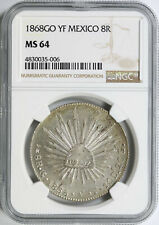 1868-Go YF Mexico Silver 8 Reales NGC MS64