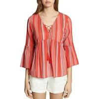 Sanctuary Womens Sedona Striped Bell Sleeves Cotton Peasant Top Blouse BHFO 0994