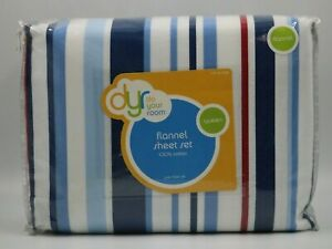 Do Your Room Multi Color Striped Flannel Queen Sheet Set NEW