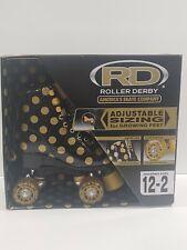 Roller Derby Rollerskates Black Gold Polka Dot Girls Adjustable Size12-2 New
