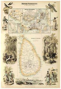 Old Vintage Decorative Map of British East india Ceylon Fullarton 1872