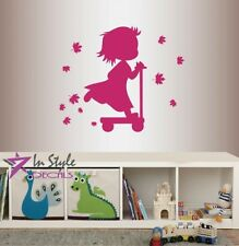 Vinyl Decal Cute Baby Girl Riding Scooter Nursery Bedroom Playroom Sticker 1642