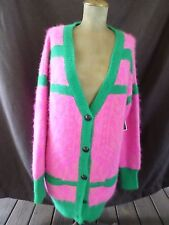 JUICY COUTURE pink green stripe angora cardigan sweater M/L NEW $298
