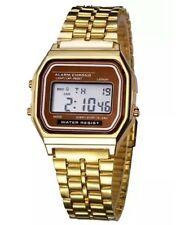 Retro Classic Unisex Women Men Stainless Steel Digital Led Wrist Watch Gold