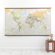 Laminated Large World Map, Highly Detailed Stylish Wall Map, 197cm (w) X 116.5cm