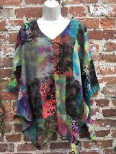 Ladies Gringo Tie Dye hippie/boho/festival loose patchwork top free/plus size