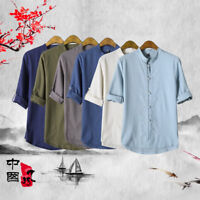 Men Soft Breathable Cotton Linen Martial Art Kung Fu Tai Chi Shirt Coat T-shirt