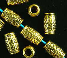 ANTIQUE GOLD~TUBE~TIBETAN STYLE~SPACER BEADS~12 x 7 MM ~ 4 MM HOLE