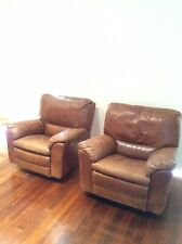 Natuzzi Italy Leather 3 Piece Couch 2 Single Reclining Swivel Excellent Soft
