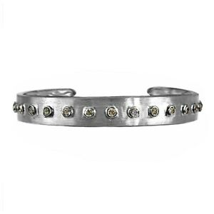 "1.90ct Diamonds in 925 Sterling Silver Unisex Cuff Bracelet - 7.5"" Adjustable"