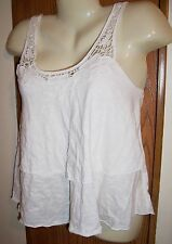 M tank top cream white ivory teired crochet lace split back open flow 7 9 summer