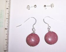 A Sterling silver natural flat coin shaped Thulite earrings reiki lightworker