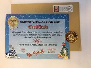Personalised Christmas Santa Claus Nice List Certificate & Santa Wishing Coin FD
