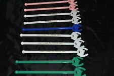 Vtg Lot 10 Plastic Swizzle Sticks Horse Racing THE PADDOCK INDIANAPOLIS Bar