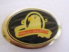 BELT BUCKLE HARLEY DAVIDSON MOTOTCYCLE EAGLE 1983 SOLID BRASS BARON GOLD TONE