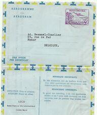 BELGIUM CONGO: Aerogramme 4Fr.  commercially used (1957) to Belgium
