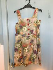 Revival retro style dress with flowers and big red buttons in size 10