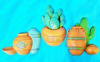 Set of Three - Cactus Pottery Texas Burwood Product Co Plastic Wall Hangings