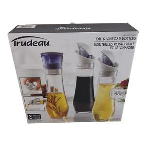 Trudeau Oil & Vinegar Bottles 3 Pack One Spray Pump & Two Pour 10 oz 295ml Each