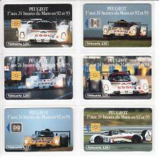 6 PHONE CARD SET / TELECARTE   FRANCE PACK 3 AUTO CAR 24H LE MANS RACE USED/CHIP