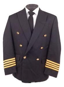 Airline Pilot Captain 4 Stripe Uniform Tunic Jacket Black Fancy Dress   H3 CPT1
