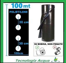TELO PACCIAMATURA FORATO in LINEA A 30 CM POLIETILENE BOBINA 100 MT LARGO 1 MT