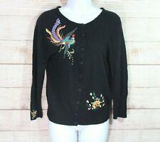 Lucky Brand Womens M Cardigan Sweater Bird Embroidery Lambs Wool Angora Cashmere
